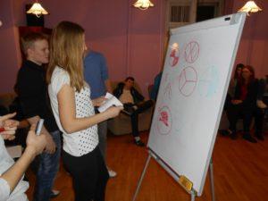 Młodzież przy tablicy rysuje